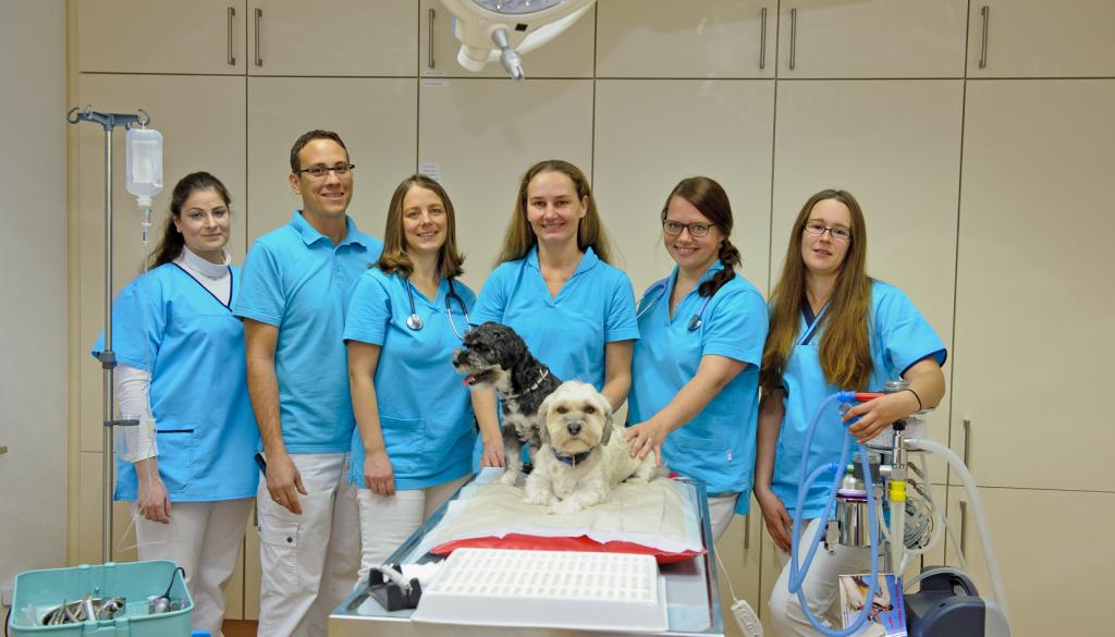 Das Team der Tierarztpraxis Föller um Tierärztin Daniela Föller. Foto: Fotostudio Lippert