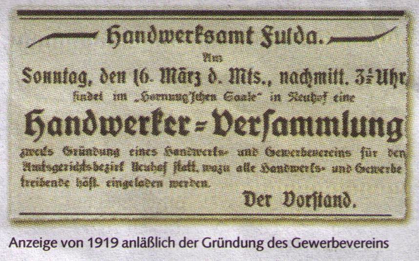 Anzeige von 1919 zur Gründung des Gewerbevereins